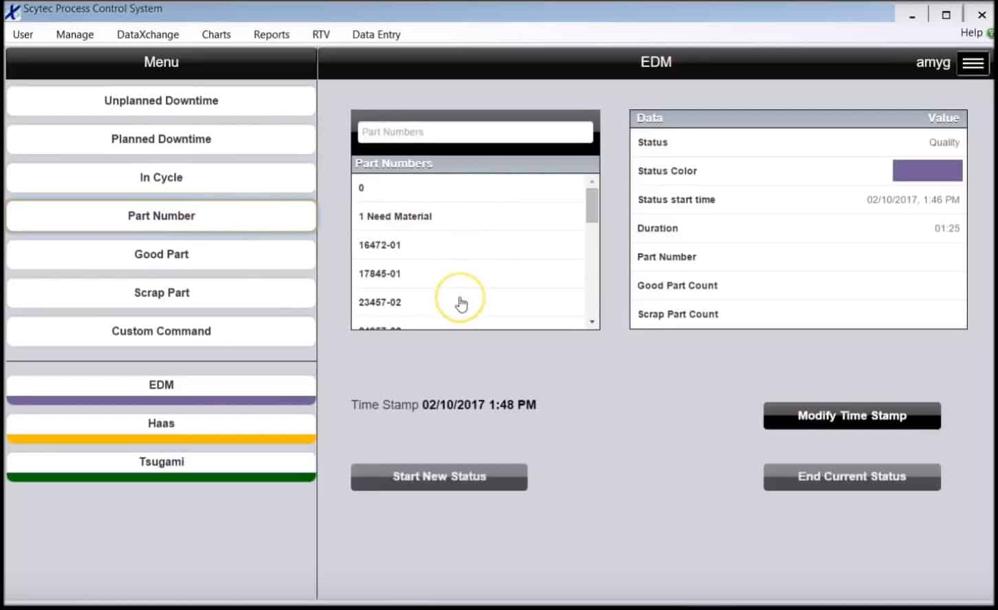 DataXchange Data Entry Screen - Shop Floor Automations